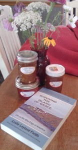 "Homemade jams and her book ""Surviving the Island of Grace"" traveled from Alaska to my mailbox after I won a recent contest on Leslie's blog."