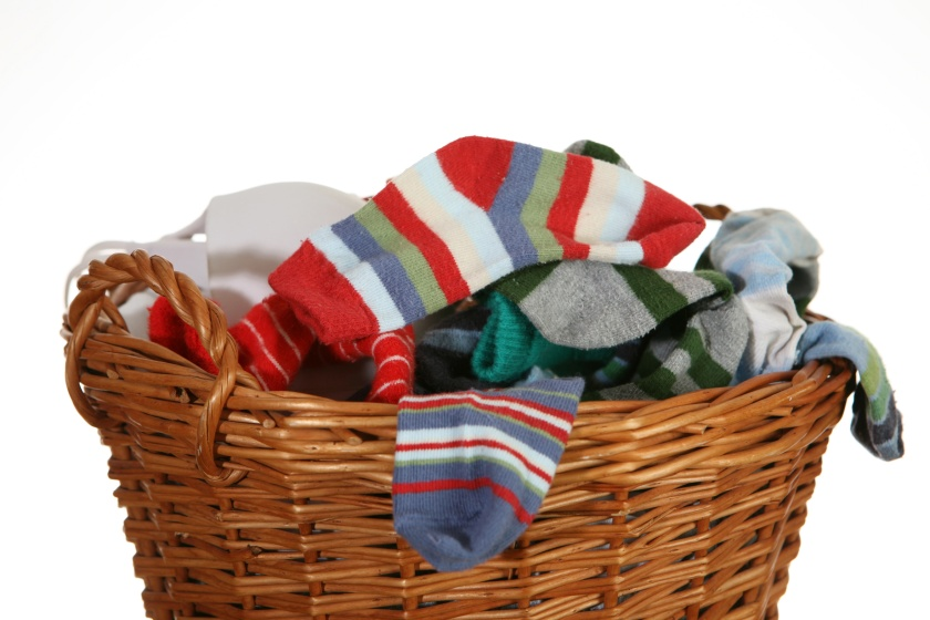 socks and underwear in basket
