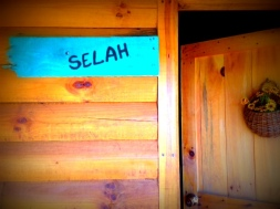"""""""Selah"""" in our cabin by the pond."""